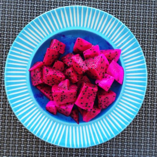 Directly Above Shot Of Pitaya In Plate