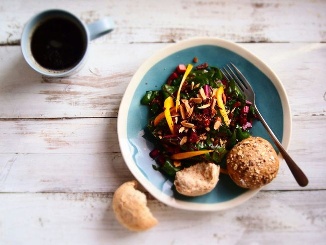 Beet Leaves and Nuts Salad with vinaigrette dressing Breakfast Food Porn Food Photography Enjoy Eating Cooking A Meal Salad Time