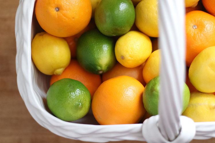 High angle view of oranges in container