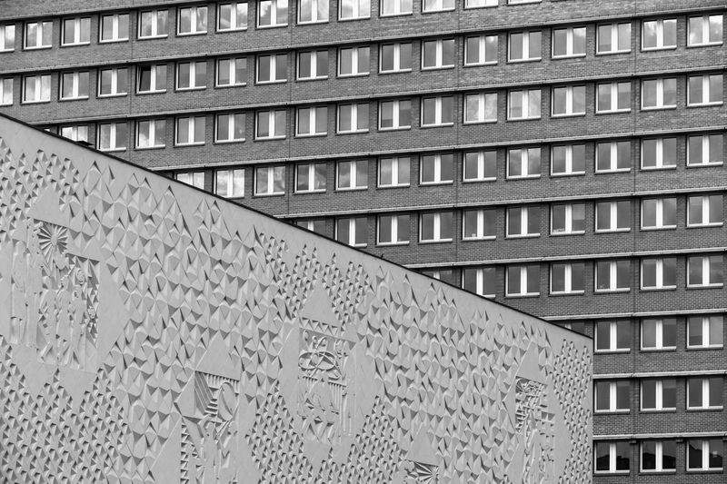 Black and white image of modern building