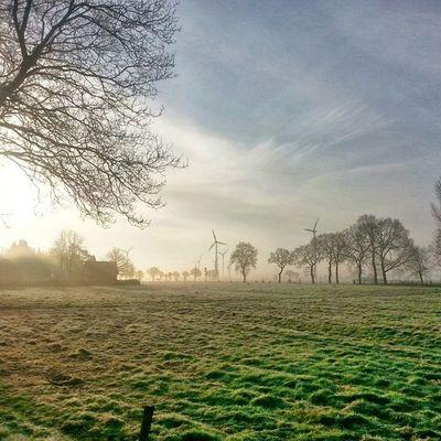 Auf dem Weg zur Arbeit. Sonnenaufgang in Aurich Ostfriesland