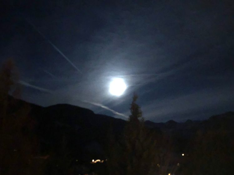 Towards moon set Van Gogh Moon Moon Blue Blood Moon Gstaad Travel Destinations EyeEmNewHere Bolonie Art Bolonie Bolonie Style Night Nature Silhouette Sky Outdoors Scenics Beauty In Nature Illuminated No People Vapor Trail Astronomy