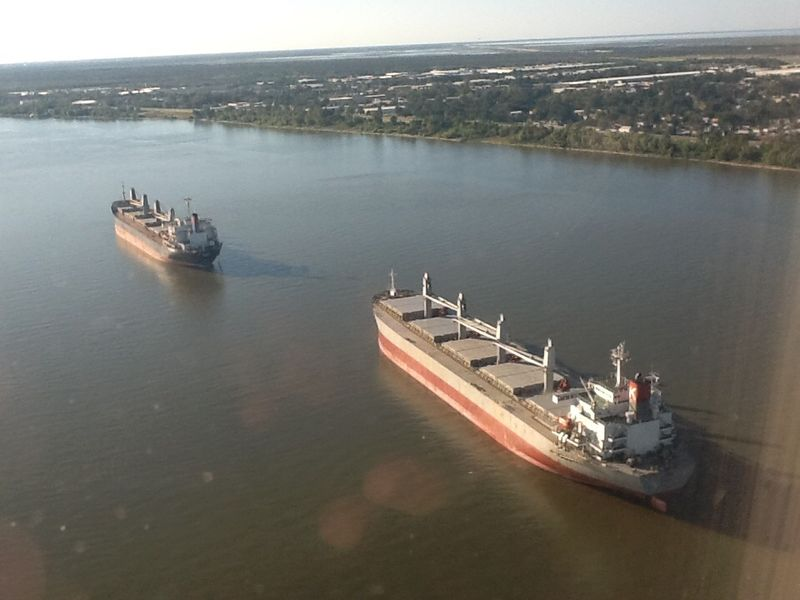 Commerce New Orleans Mississippiriver Large Ship Aerial View Of Mississippi River Container Ship Missisippi River Looking At The River From The Airplane Window
