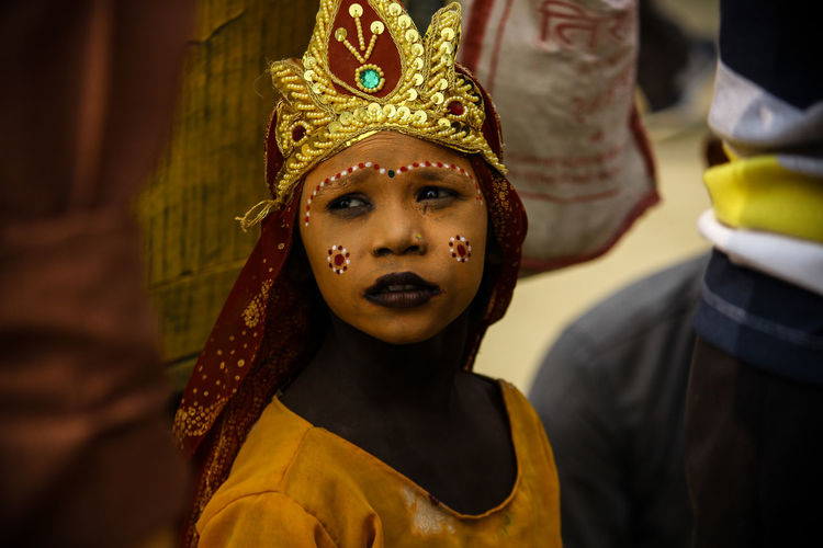 Close-up of girl with traditional make-up