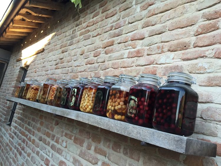 Autumn Food And Drink Architecture Brick Wall Food Food And Drink Food Preservation For Sale Freshness Large Group Of Objects Old Style Preserve Vintage