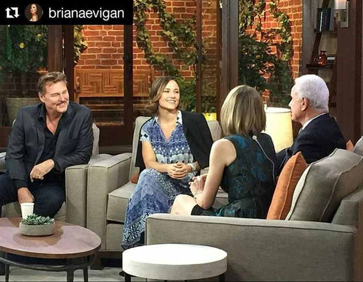 """Looking forward to watching """"Once Upon a Holiday"""" Countingdownthedays CountdownToChristmas Repost @brianaevigan ・・・ Always a good time on GDLA Gooddayla CountdownToChristmas . Ready to snuggle up and watch a cute holiday film?! Check out my pops @gregevigan as my lawyer and I as a princess ;) in """"Once Upon a Holiday"""" Wednesday the 25th at 8pm on @hallmarkchannel... Thank you @satyajewelry and @tolanicollection for my beautiful dress and earrings, @zara for my go to blazer and booties... You always make me feel like such a lady!!!"""