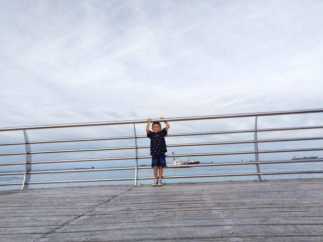 Baywalk Philipines Full Length Women Footbridge Standing Flexibility Exercising Railing Young Women Sky Cloud - Sky Bridge - Man Made Structure