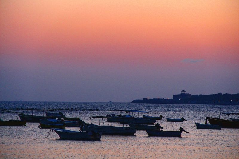 Sea Beach Horizon Over Water Tranquility Water Vacations Outdoors Travel Destinations Clear Sky No People Sky Nature Nautical Vessel Boats Sunrise Enjoy The Silence Tranquil Scene Alexandria Egypt Perspectives On Nature