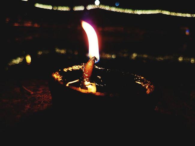EyeEmNewHere Heat - Temperature Flame Night Burning Illuminated Molten Diya - Oil Lamp Close-up Manual Mode Photography Bokeh Photography