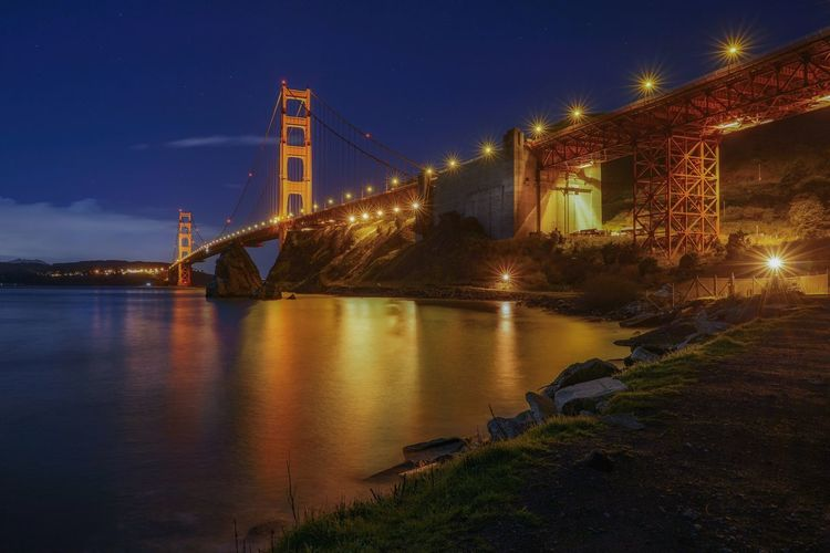 Golden Gate Bridge San Francisco Califiornia Long Exposure Water Reflections Blue Sky Illuminated Bridge Night Built Structure Architecture Water Connection Bridge - Man Made Structure Sky Transportation Nature No People Building Exterior Reflection River Outdoors Travel Destinations Cloud - Sky Bay