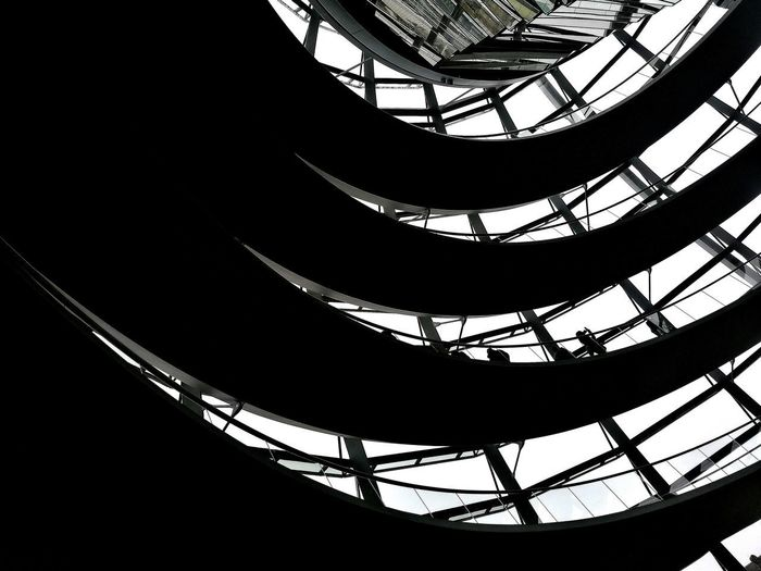 Discover Berlin reichstag Low Angle View Reichstagskuppel Reichstag Berlin Mitte Berlin Photography Indoors  Architecture Black And White Blackandwhite Blackandwhite Photography