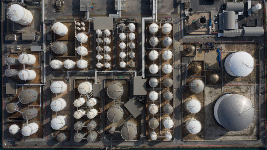 Aerial view of tanks in industrial factory