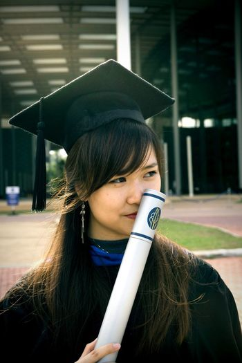 Smells like graduation. 🎓 Girl College Girl  Asian  Asian Girl Asian Woman Graduation Graduation Gown Graduate Graduation Ceremony Graduationday Graduates Graduationceremony University Campus College College Life Campus Life Scroll Graduation Hat Graduation Scroll The Modern Professional City Young Women Portrait Fashion Front View Standing Headshot Close-up Wearing