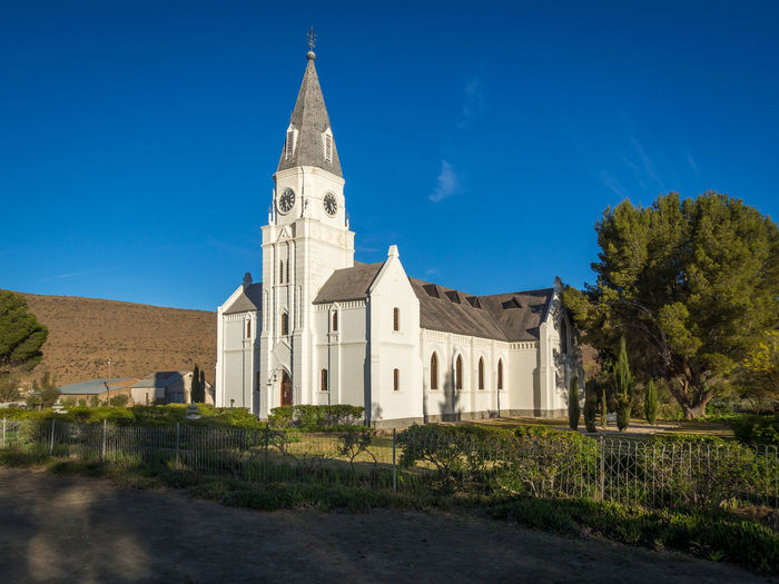 Church South Africa Architecture Blue Building Exterior Built Structure Day History Nieu-bethesda No People Outdoors Place Of Worship Religion Sky Spirituality Tree