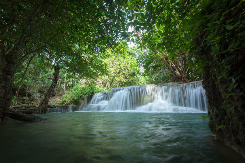 Erawan waterfalls, beautiful evergreen paradise of the Middle travelers. Ideal for relaxing National Park, Kanchanaburi, Thailand Beautiful Green Kanchanaburi National Nature Relaxing Thailand Travel Erawan Waterfall Evergreen Landscape Middle Paradise