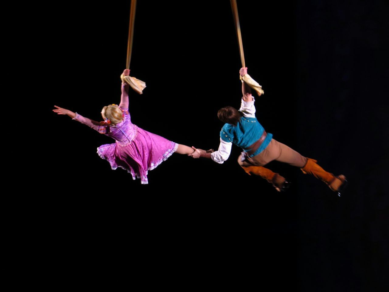 acrobat, full length, performance, skill, togetherness, balance, night, fun, real people, hanging, acrobatic activity, young adult, flexibility, teamwork, young women, black background