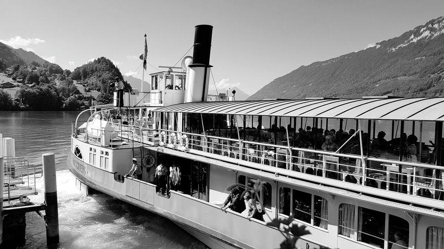 Steamboat Brienzersee Nostalgie Nostalgia Nostalgic  Steamboat Dampfschiff Water Mountain Sky