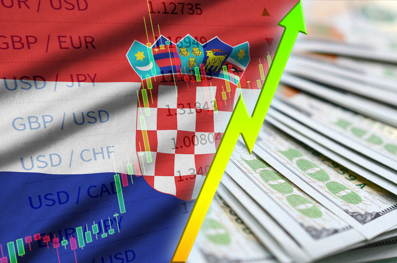 Flag Country Fabric National Symbol Background Waving Sign Banner Textile Texture Travel Traditional Wave Cotton Wavy Symbolic  Official Concept Republic Croatia Hr Hrv Dollar Arrow Up Grow Banking Business Currency Profit Investment Market Rate Profitability Rising Trend Stock Upward Economy Increase Rich Forecast