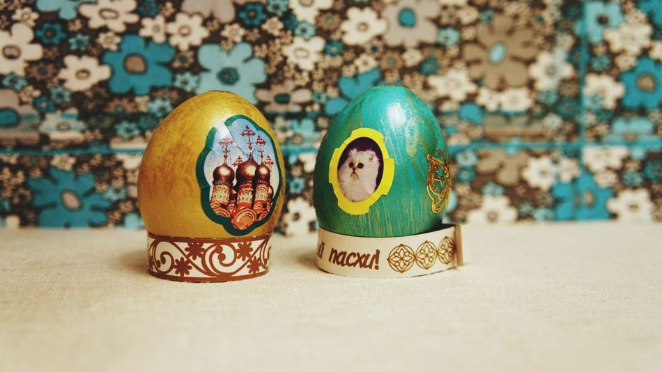 two eggs No People Multi Colored Close-up Easter Easter Egg Holy Week Dye Religious Celebration ArtWork
