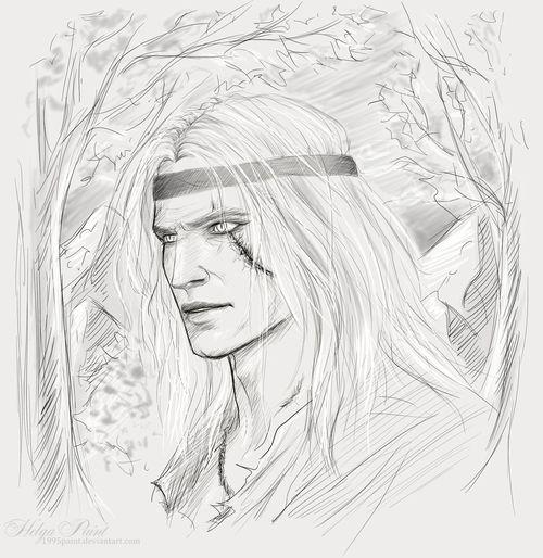 1995paint 2017 Geralt HelgaPaint Man Sapkowski Sketch Whitewolf Witcher Art Face Geraltfromrivia Geraltofrivia Geraltthewitcher Longhair Person Portrait Scar Thewitcher Whitehair Youngman