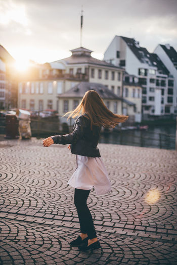 Afternoon Cityscape Dance Fashion France Freedom Happiness Houses Sightseeing Strasbourg Terrace Travel Woman Balcony Girl Goldenhour Portrait Relax Roadtrip Sun Sunset Village Fresh On Market 2017