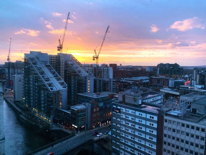 A rare splash of sunshine in rainy Manchester. #WinterSunset Marriott Wintersunset Manchester Architecture Building Exterior Built Structure City Sky Sunset Building Crane - Construction Machinery