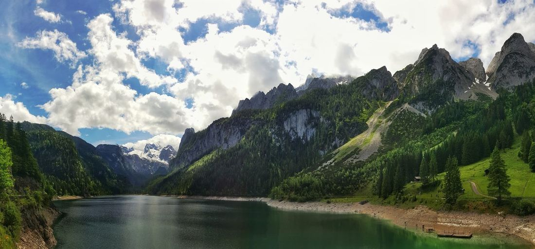 Mountain Cloud - Sky Sky Tree Mountain Range Scenics Nature Water No People Outdoors Pinaceae Beauty In Nature Lake Landscape Mountain Peak Day Kopfwand Forest Sunlight Tranquility Gosausee Vorderer Gosausee Austria Dachstein Strichkögel EyeEm Selects