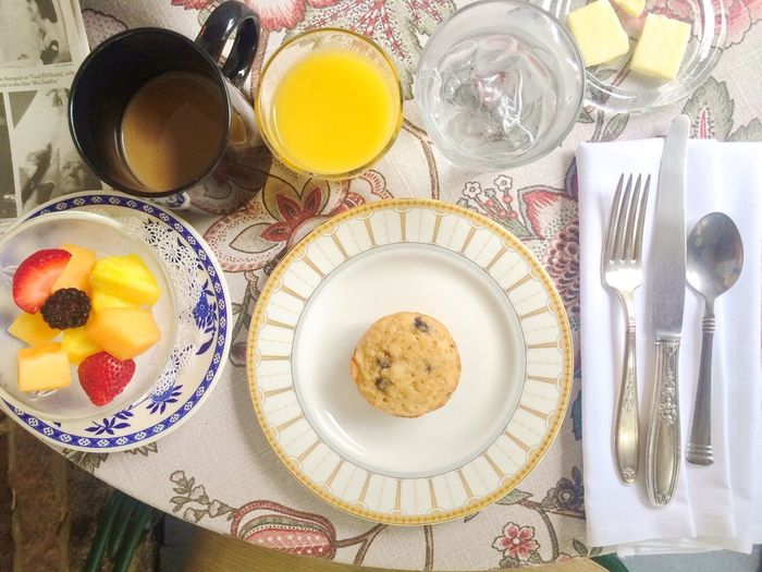 Directly Above Shot Of Breakfast Served On Table