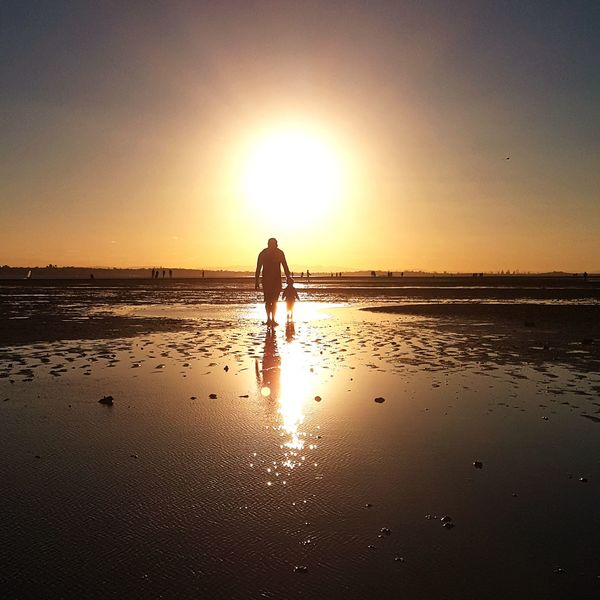 walk into the light Silhouette Sunset Sun Father & Son Full Length Salt - Mineral Shore Calm Horizon Over Water Ocean