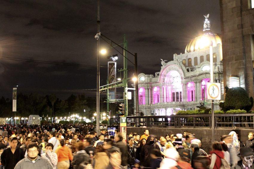 Bellas Artes Dia De Los Muertos Downntown Fiesta Mexicana Mexico City Nigth  Nigth Ligths People