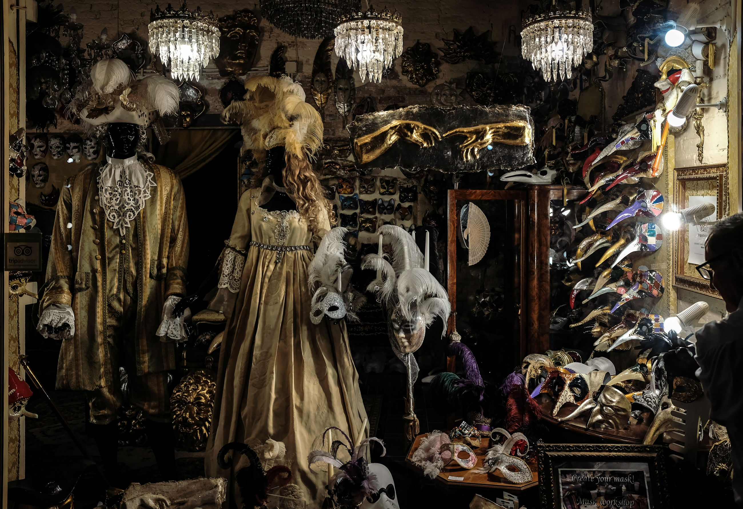 retail, for sale, store, variation, choice, venetian mask, built structure, large group of objects, no people, night, indoors
