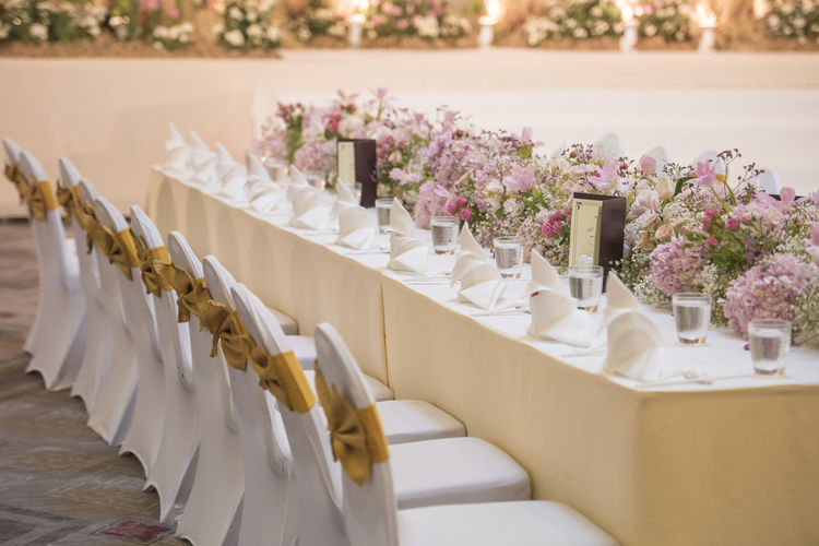 Chairs And Table Arranged In Wedding Reception