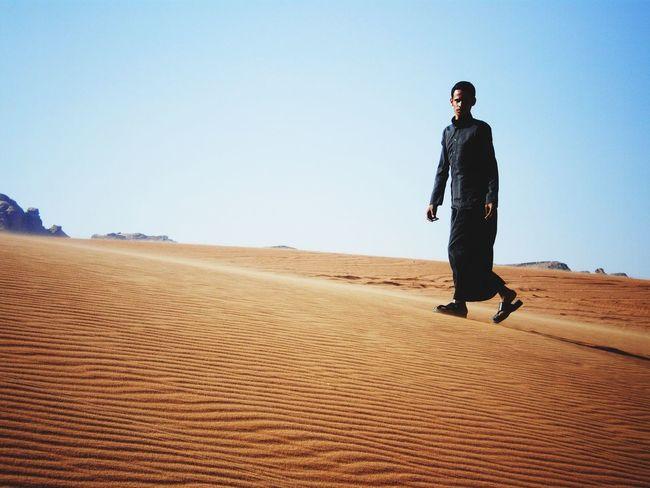 EyeEm Selects One Man Only Sand Outdoors Clear Sky Sand Dune Desert Wadi Rum National Park, Jordan Travelphotography Traveler Travelgram Mystillmoments Jordan Sky