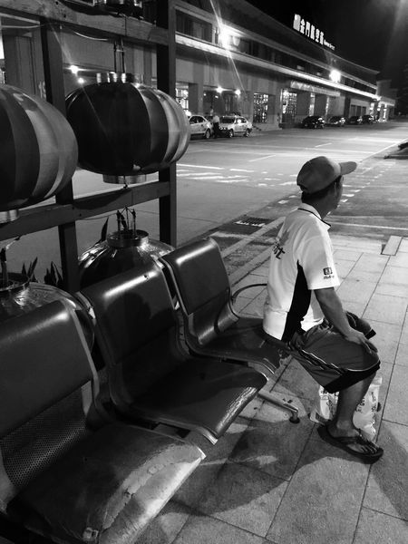 waiting for bus Outdoors Street Photography Landmarks Travel Airport Man People Blackandwhite Found On The Roll The Street Photographer - 2016 EyeEm Awards