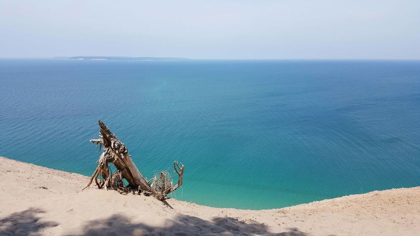 Beach Beach Photography Sand Sand Dunes Slope Steep Water Blue Water Blue Sky Lake Lakeshore Landscape Lake View Lake Michigan Scenic Lookout Looking Down No People Non Urban Scene Freshwater Summer Great Lakes Michigan Tree Stump Dry Wood Sleeping Bear Dunes
