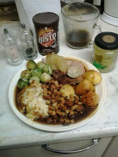 My roast pork done with onion apple sauce and my stuffing Home Cooked Dinner Time Uk Razorspics Enjoying Life