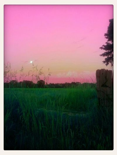 Dusk Landscape Full Moon