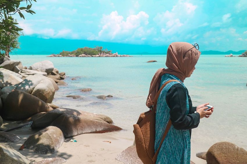 Paradise Beautiful Beach Water Sea Sky Beach Beauty In Nature Real People One Person Nature Women Cloud - Sky
