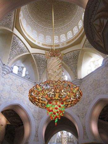 Abudhabi Architectural Feature Architecture Decoration Illuminated Low Angle View Mosque Interior Ornate Pattern Symmetry Travel Destinations