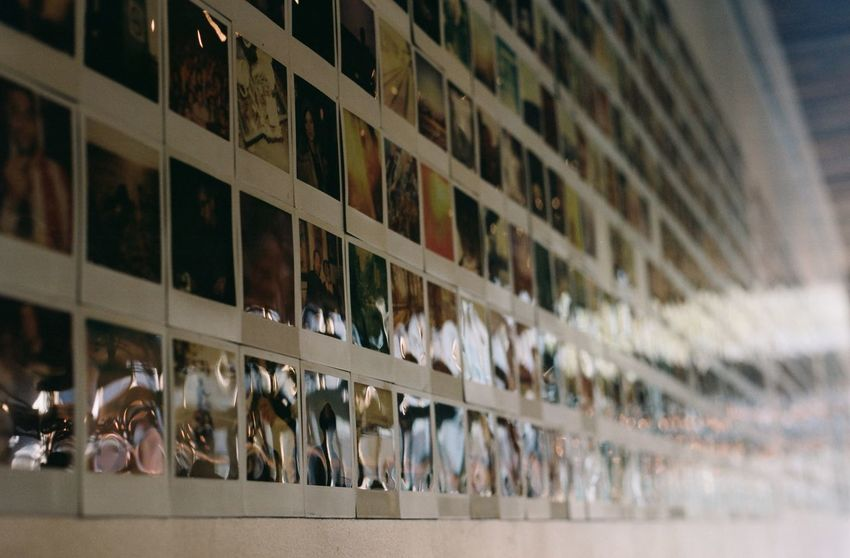 Everything In Its Place Poloroid Filmcamera Rows Of Things Analog Canon AE-1 Filmisnotdead Wall