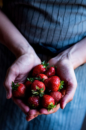 Midsection of person holding strawberries