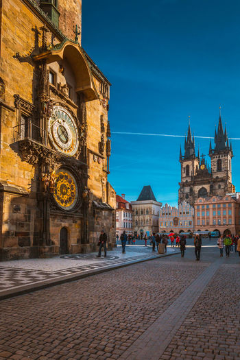 Architecture Astronomical Clock Building Exterior Built Structure Clock Clock Tower Day History Large Group Of People Outdoors People Prague Real People Religion Sky Travel Destinations