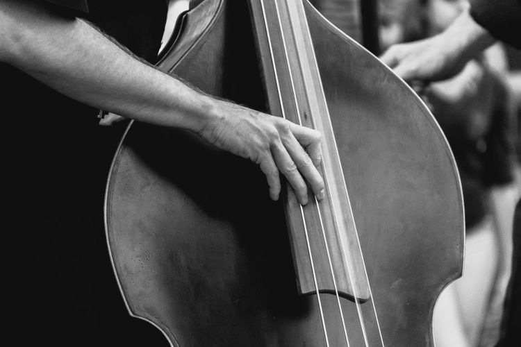 bombombombombom Close-up Cropped Double Bass Festival Festival Season Focus On Foreground Music Music Festival Musician Part Of Person Playing Double Bass Unrecognizable Person