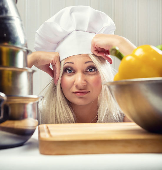 Portrait of overworked woman cook Blonde Cooking Overworked Portrait Of A Woman Unhappy Chef Chef Hat Cookery Depression Exhausted Fatigue  Female Food Headshot Indoors  Kitchen Kitchen Utensils One Person Sad Stressed Tired Utensils Women Young Adult Young Women