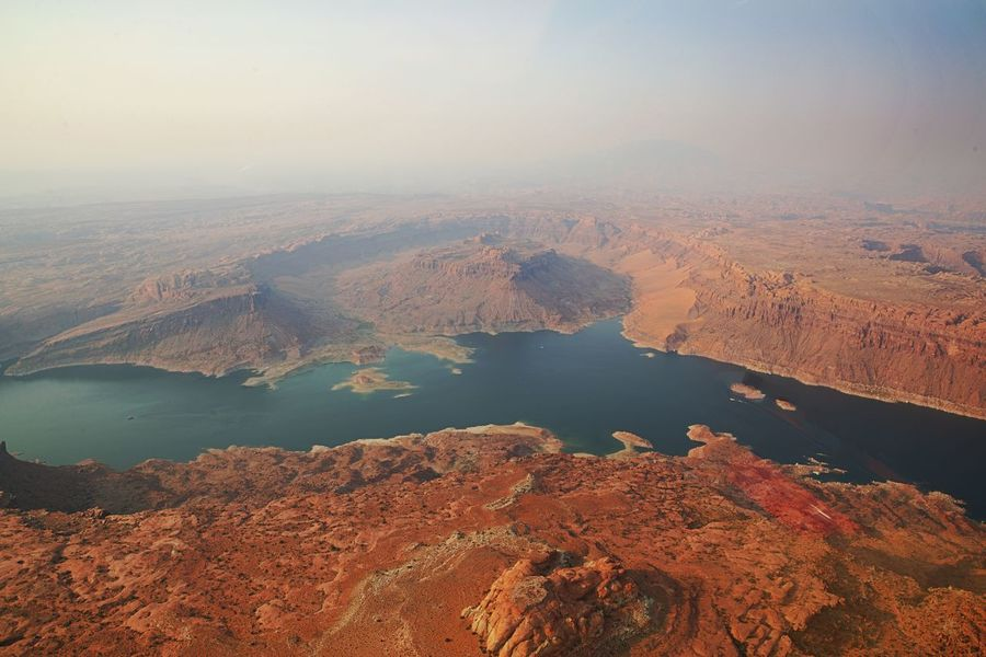 Scenics - Nature Beauty In Nature Tranquil Scene Tranquility Water Landscape Environment Non-urban Scene Idyllic High Angle View Land Geology Outdoors Physical Geography No People Remote Climate Lake Powell