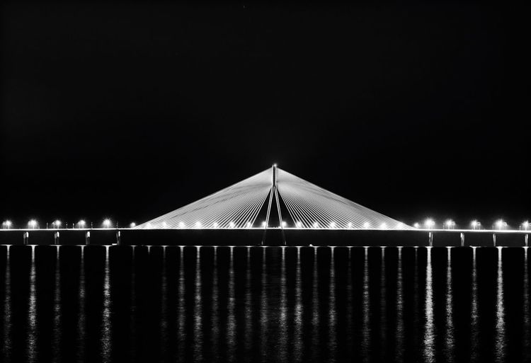 Monochrome Seascape Seaside Sony A6000 Horizon Destination Horizon Over Water Bridge Night Travel Traveling Sea Road Mumbai Nightphotography Showcase: January India Journey EyeEm Masterclass EyeEm Best Shots EyeEmBestPics Light And Shadow Bnw Blackandwhite Welcome To Black