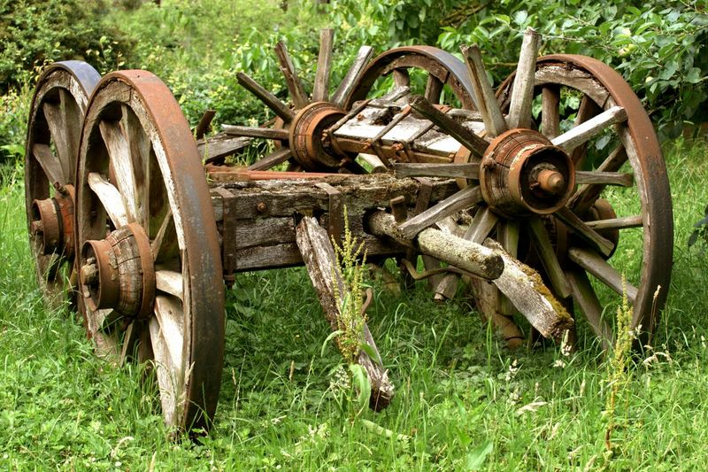 The ravages of time. Spare parts for historic horse-drawn vehicles. Decay Old Technology Transportation Abandoned Agriculture Antiquities Dilapidation Disrepair Grass Historic Historic Technology History Metal Nature Obsolete Old Outdoors Outside Rusty Spare Parts The Ravages Of Time Transportation Wagon Wheel Wheel Wood - Material