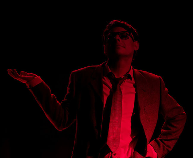 The Portraitist - 2016 EyeEm Awards Red Light Suit Glasses Tie Office Theater In Character Portrait Of A Friend Posing Dark