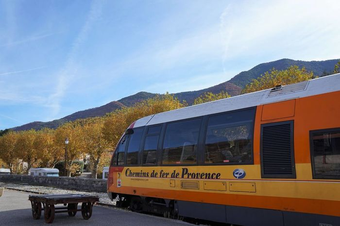 short trip for mountain by train Autumn Beautiful France Orange Trip Beauty In Nature Countryside Day Mode Of Transport Mountain Nature No People Outdoors Sky Train - Vehicle Transportation Travel Tree