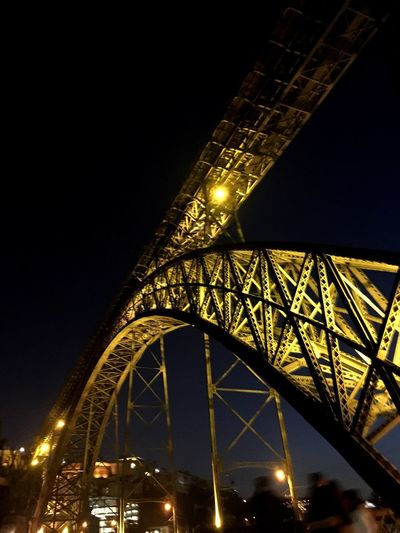 Bridges Newbeginning Highlights BeautifullSadness Pontedaoluis Porto Light And Shadow Illuminated Night Built Structure Architecture Low Angle View Sky Bridge Bridge - Man Made Structure Travel Destinations Luxury Tall - High Transportation City 17.62°